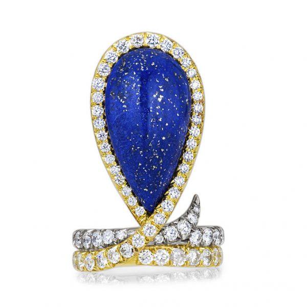 De l'importance des bijoux et comment les porter - Ana-Katarina Vinkler-Petrovic - The Blue Velvet Lapis Lazuli Diamond Ring - Elvisa JASAK - Paris